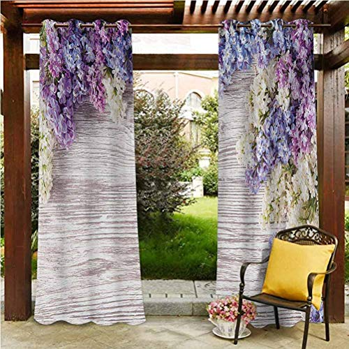 ScottDecor Rustic Durable Curtain for Patio,Porch,Backyard Lilac Flowers Bouquet on Wood Table Spring Nature Romance Love Theme Lilac Violet Dark Taupe 108' W by 108' L(K274cm x G274cm)