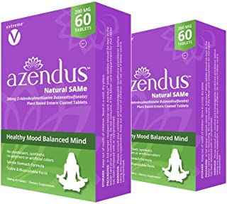 Azendus MOOD 200mg 2-Boxes of S-Adendosylmethionine Butanedisulfonate (SAMe) 120 Enteric Coated Tablets – Anxiety Relief and Stress support natural supplement