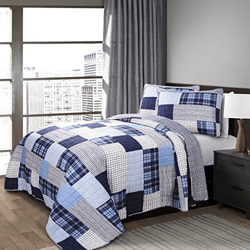 Lush Decor Navy Greenville Quilt-2 Piece Reversible Patchwork Gingham Print Pattern Bedding Set-Twin
