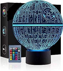 3D Ilusión óptica Lámpara LED Luz de noche Deco LED Lámpara 7 colores de control remoto con Acrílico Plano & ABS Base & Cargador usb (Star Wars)