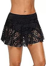 Dinglong Ladies Beach Skirt,Women's Lace Crochet Skirted Bikini Bottom Swimsuit Short Skort Swim Skirt Tummy Control (L, Black)