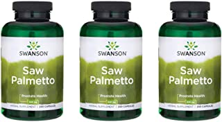 Swanson Saw Palmetto Herbal Supplement for Men Prostate Health Hair Supplement Urinary Health 540 mg 250 Capsules (3 Pack)