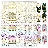 FLOFIA 8 Fogli Adesivi per Unghie Natalizi Nail Stickers Autoadesivi Unghie Natale Natalizio Decalcomanie Decorazione Nail Art Adesivi Unghie Natale Fai da Te Multicolore&Oro