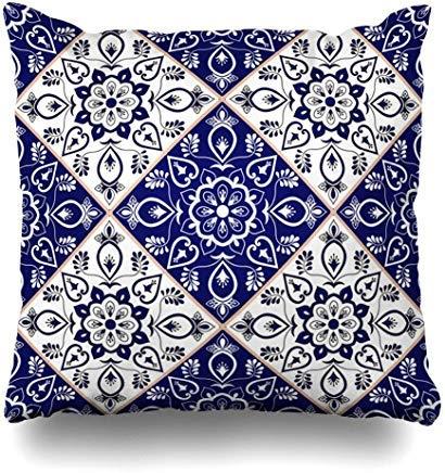 GFGKKGJFF0812 portugiesisches italienisches Delft-Muster, blaues Porzellan, Vintage-Stil, Mosaik-Masik, Portugal Sizilien, Mexiko, 18 x 18 cm, für Sofas und Sitze