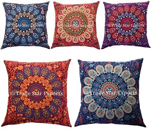 Trade Star, federa per cuscino con motivo mandala, 18 x 18 cm, in cotone, cuscino decorativo, cuscino etnico per divano