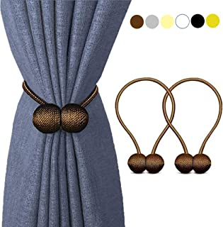 HILELIFE Magnetic Curtain Tiebacks Clips - Window Tie Backs Holders for Home Office Decorative Rope Holdbacks Classic Tiebacks Design, 1 Pair (Brown)