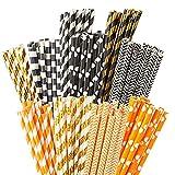 HANSGO Paper Straw Decorations,200 Pack Paper Straws Drinking Stripe