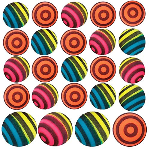 Kicko Striped Bouncing Balls - Pack of 24 - Assorted Neon Colored Stripe Designs High Bouncing Balls - for Kids - Party Favors, Bag Stuffers, Fun, Toy, Prizes