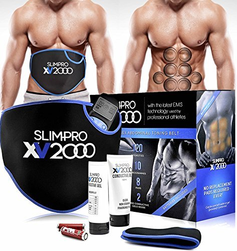 Homefront XV2000 Ab Toning Belt Abs Stimulator, Abdominal Obliques Slender Stomach Belly Muscle Trainer Toner Electronic Home Fitness Workout with Extension Belt Abdomen Obliques Unisex Men Women
