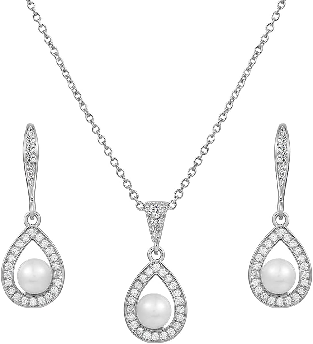 MEEDOZ White Gold/Gold/Rose Gold Plated Women's Clear Cubic Zirconia Simulated Pearl Pear-Shaped Teardrop Pendant Necklace and Dangle Earrings Jewelry Sets for Bridal Wedding, Adjustable Chain
