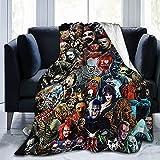 WXM Manta de película de terror con personajes aterradores, manta de franela ultra suave, para Halloween, decoración del hogar, para sala de estar, sofá, silla, dormitorio, 60 pulgadas x 50