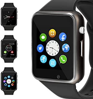 WJPILIS Smart Watch Touchscreen Bluetooth Smartwatch Wrist Watch Sports Fitness Tracker with SIM SD Card Slot Camera Pedometer Compatible iPhone iOS Samsung Android for Kids Men Women (Black)