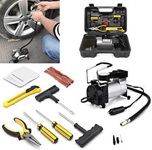 Noryb Portable 12V Electric Car 4x4 Auto Air Compressor Pump Puncture Tyre Repair Kit