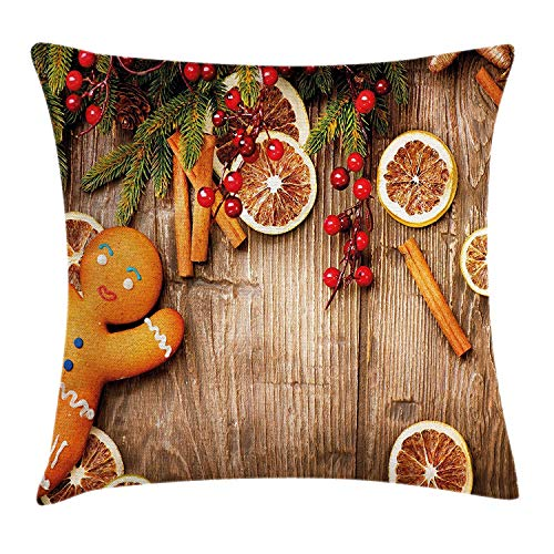 Gingerbread Man Throw Pillow Cushion Cover, Rustic Composition with Holly Berry Orange Slice Cinnamon And Biscuit, Decorative Square Accent Pillow Case, 18 X 18 Inches, Brown Orange Red