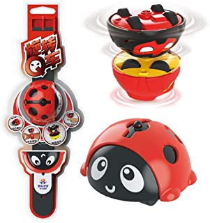 Lindsays Children's Magic Stunt Gyro Watch Inertial Car Spinning Gyro Combat Toy Super Durable ABS Material Ease Stress Boring Passing Time Toy (Red)
