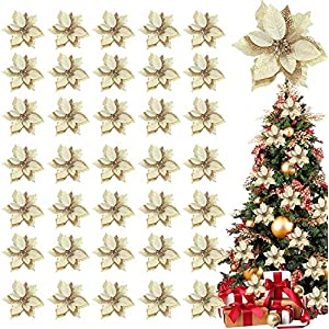 TURNMEON 36 Pack Christmas Gold Silver Glitter Poinsettia Artificial Silk Flowers Picks Christmas Tree Ornaments 4 Inch Wide for Gold Christmas Tree Wreaths Garland Holiday Decoration (Yellow Gold)