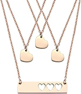JJTZX Mother Daughter Bar Necklace Set Horizontal Bar Necklace with Cutout Heart Mommy and Me Bar Necklace Set First Day of Kindergarten Gift