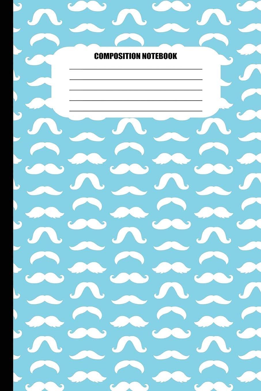 意気消沈した法王スキルComposition Notebook: Moustaches of all Shapes (White Pattern on Sky Blue) (100 Pages, College Ruled)