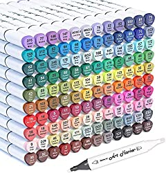 powerful 121 alcohol-based color markers with 2 tips, 120 colors and 1 permanent blender marker …
