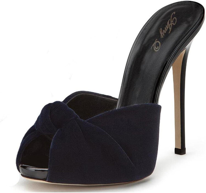 L@YC Women High Heels Velvet Knot Sandals Drag Red Black