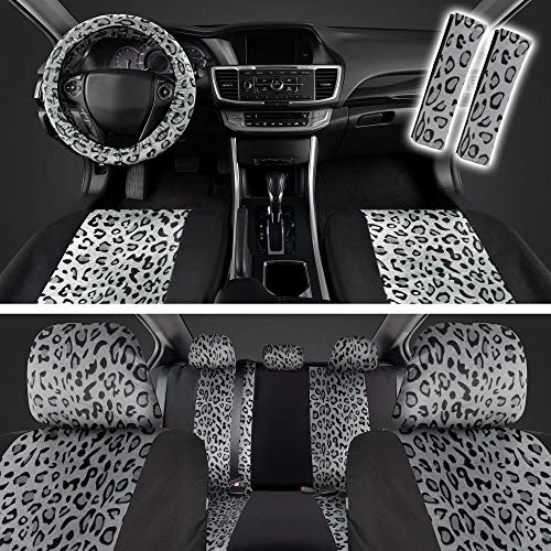carXS Velvet Animal Pattern Car Seat Covers, Full Set - Two Tone Gray Cheetah Print Accent on Black...