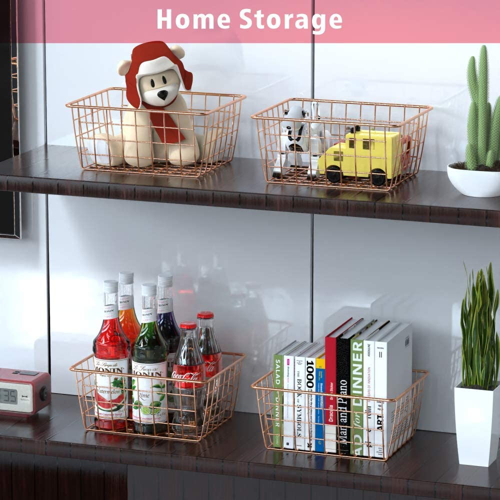 Shelf Kitchen Cabinet 3 Sizes Freezer White Bathroom Wire Storage Basket Packism 6 Pack Metal Household Storage Organizer Bin for Pantry