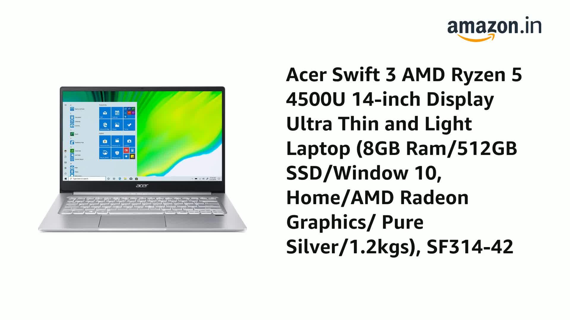 Acer Swift 3 AMD Ryzen 5 4500U 14-inch Display Ultra Thin and Light Laptop (8GB Ram/512GB SSD/Window 10, Home/AMD Radeon…