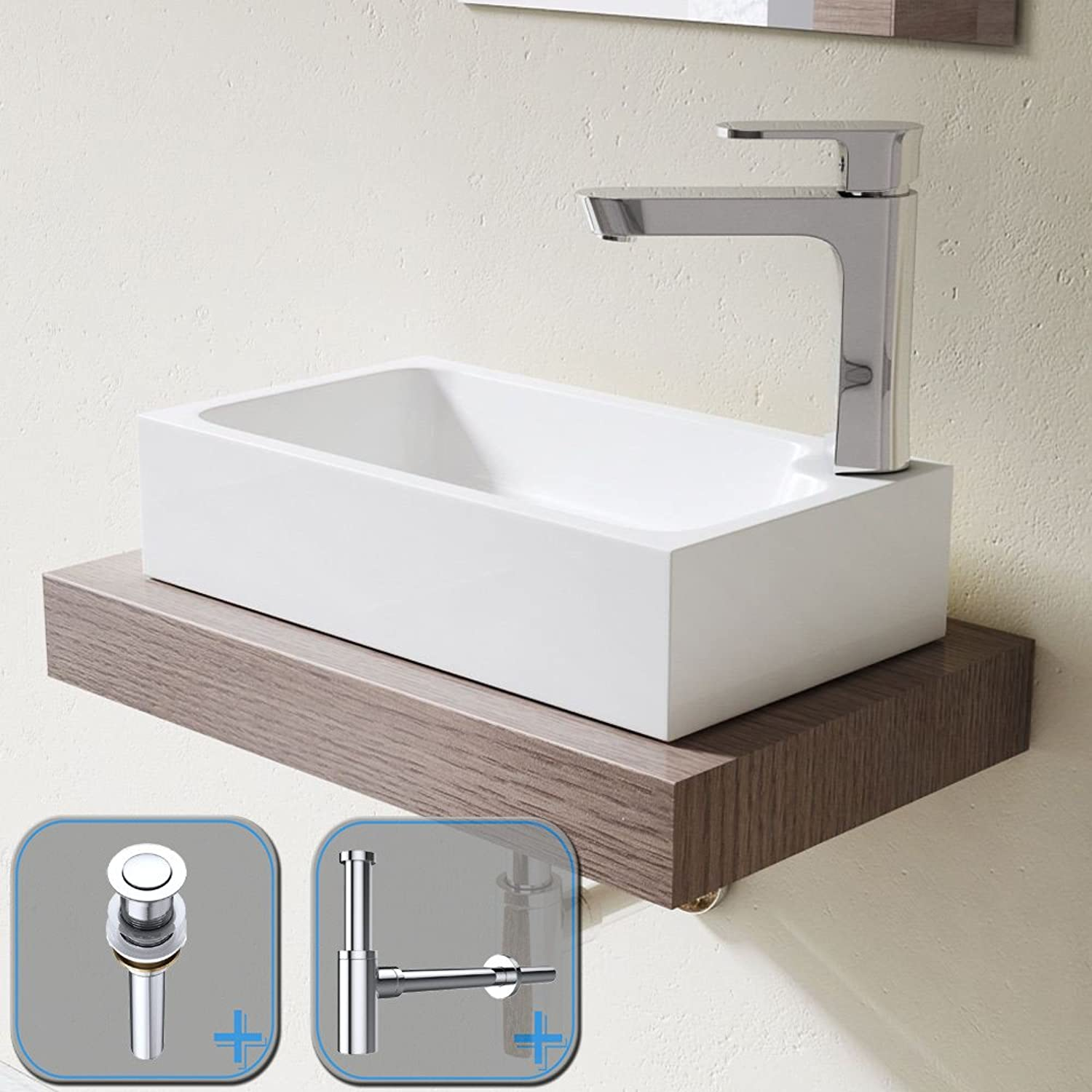 Durovin Bathrooms Compact Stone Resin Wash Basin   Counter Top Mount Vessel   Single Corner Tap Hole   Includes Push Pop Up Round Button Waste Plug PU05 and Round Bottle Trap S05