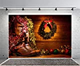 Laeacco 7x5ft American West Rodeo Cowboy Boots Christmas Card Photography Background Vintage Leather Wood Cabin Festival Christmas Decoration Wreath Balls Western Motif Decor Nostalgic Photo Backdrop