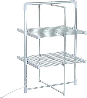 Séchoir à linge étendoir à linge électrique chauffant pliable 2 niveaux 200 W 50-55° C aluminium
