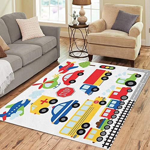 Alfombra de 36 x 24 pulgadas de área de tren, coche de juguete, avión, transporte de dibujos animados, camión de piso, alfombra