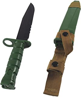 Tactical Rubber Trainer Knife Combat Bayonet with Scabbard/Sheath ABS Cosplay Training Plastic Fake Knives