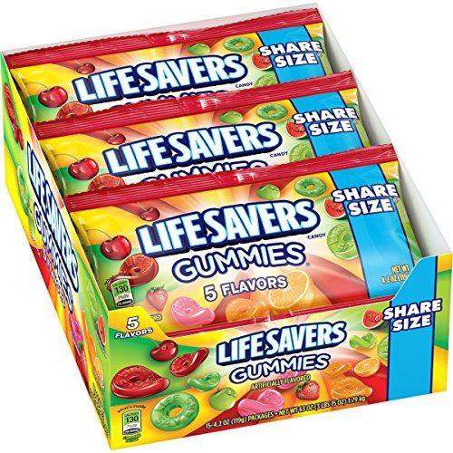 Lifesavers Gummies Five Flavor Pouches, 4.2 Ounce (Pack of 15)