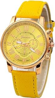 Start_wuvi Women's Wristwatch Geneva Roman Numerals Faux Leather Band Dial Analog Quartz Bracelet Watch