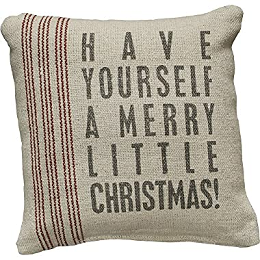 Primitives by Kathy Vintage Flour Sack Style Merry Little Christmas Holiday Throw Pillow, 8-Inch Square