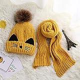 Prom-note Woll-Kindermütze, Cartoon-Motiv, Herbst und Winter, warm, plus Samt, dicker Schal, zwei Strickpullover, Kindermützen, Gelb