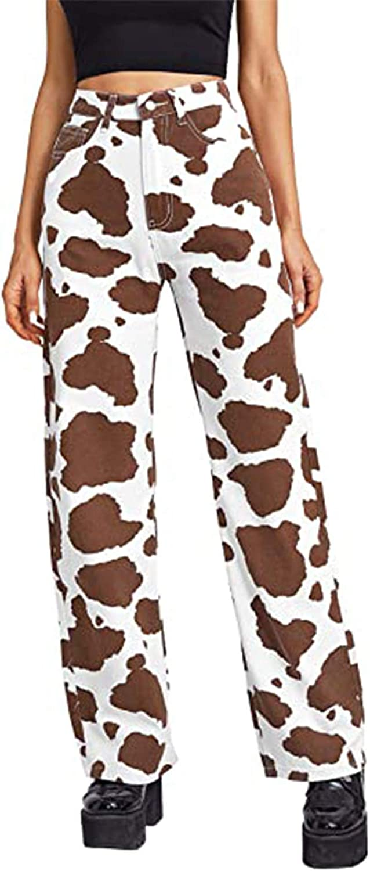 Women Cute Cow Print Jeans High Waist Wide Leg Denim Pants Classic Straight Y2K Baggy Casual Jeans Pants
