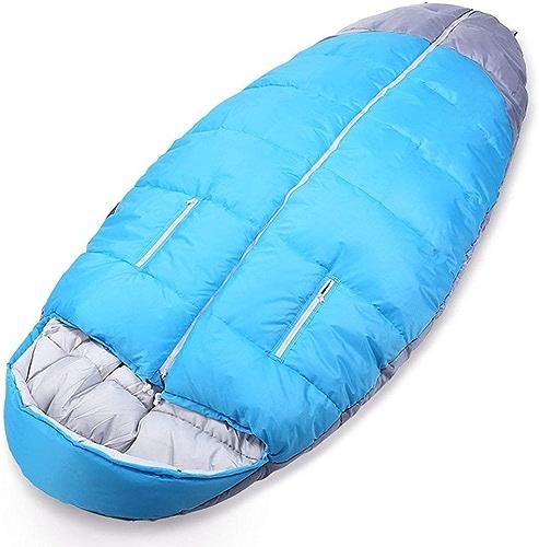 Shuidai Sac de Couchage Camping en Plein air pour Adultes Randonnée épaissir Widen Sac de Couchage en Coton d'hiver avec Sac de Compression Bleu (210  100cm)