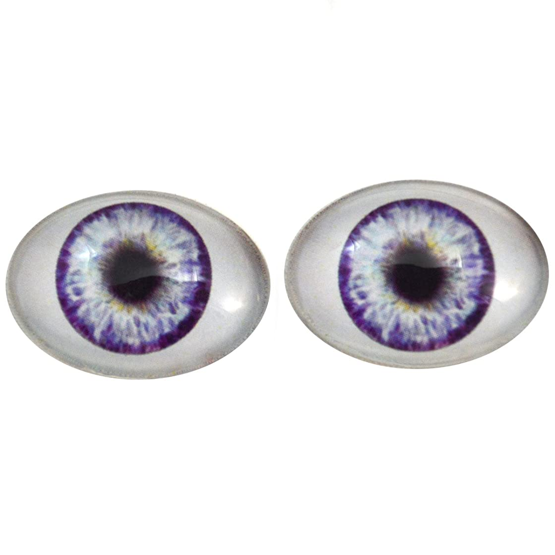 Megan's Beaded Designs Purple Doll Oval Glass Eyes Fantasy Taxidermy Art Doll Making or Jewelry Crafts Set of 2 (30mm x 40mm)