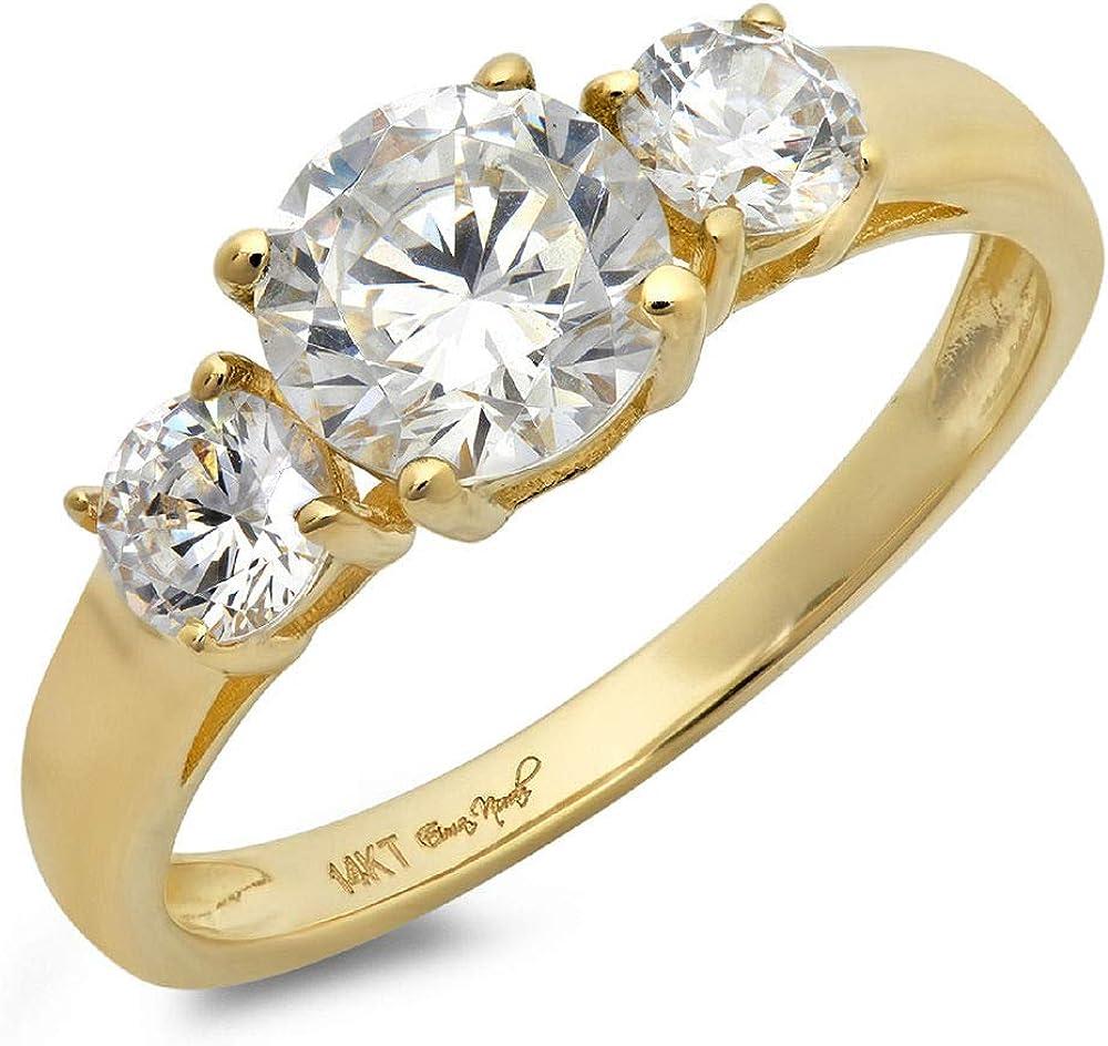 1.50 CT Round Cut Simulated Diamond CZ Solitaire Three Stone Ring 14K Yellow Gold Engagement Wedding Band