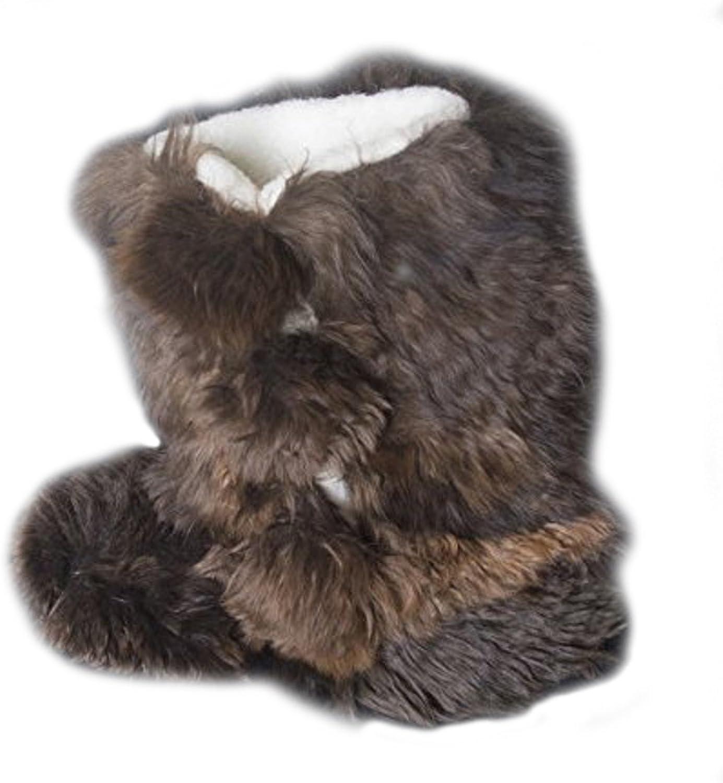 Incatrade Women Boot Slippers. Brown Baby Alpaca Handmade on Baby Alpaca Fur  6.5-10.