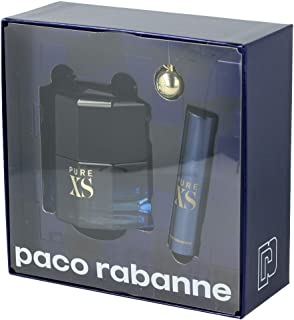 Paco Rabanne Pure Xs Eau de Toilette Spray and Travel Spray with Key Ring Gift Set, 3 Pieces - Pack of 1