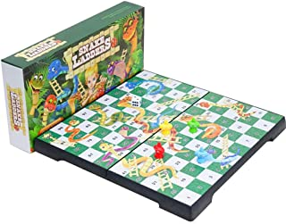 Ludo Magnetic Board Game Set,Folding 3D Traditional Snakes and Ladders Board Game for Kids and Adults Various