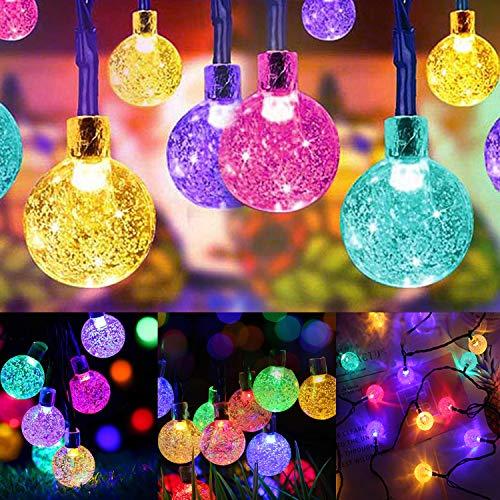 SYTUAM Guirnaldas Luces Exterior Solar,12M 100LED RGB Cadena de Bola Cristal Luz para Exterior,8 modos Guirnalda Luminosa Impermeable,Luces Decoración para Jardín,Casa,Bodas,Jardine