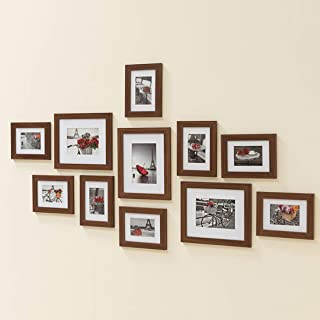 Muzilife 11 pcs Collage Picture Frame-3pcs 8x10+ 8pcs 5x7 Display Photograph and Wall Décor Photo Frames for Dining Room Bedroom and Living Room (Brown)