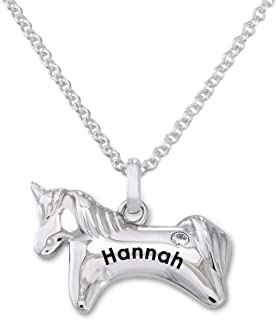 MyNameNecklace Personalized Engraved Unicorn Necklace with Cubic Zircon for Girls-Custom Jewelry