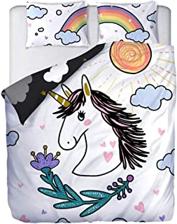 ADASMILE A & S Girl Unicorn Bedding Set White Black Bedding Duvet Cover Set Full Double Sided Design Girls Printed Modern ...
