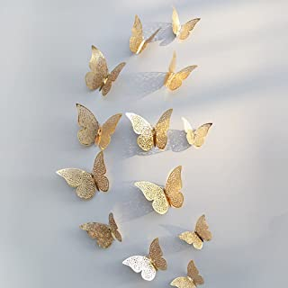 Xtore® Flair pro 12pcs 3D Home Decor Butterfly with Sticking Pad(Shimmer Golden)(Set of 12)