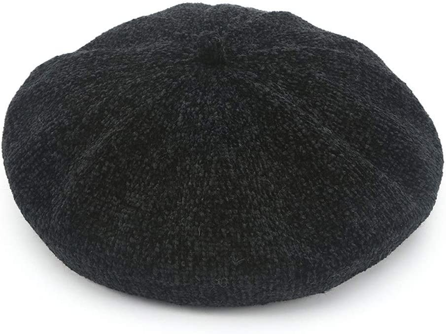 ZWJ-berets Beret Women Corduroy Warm Pumpkin Hat Solid Color Painter Hat Fashion Casual Shopping Beanie Cap,4 Colors (Color : Black)