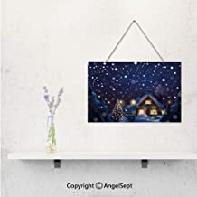 3D Print Wood Plank Design Hanging Sign with Jute Rope Hanger,Customized with Winter Night Country Landscape with Little House Among Pine Trees an Wall Art Gifts For Moms Dads Family Friends